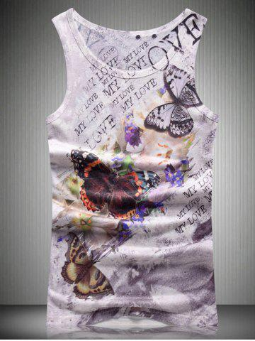 Fancy Round Neck Letters and Butterfly 3D Print Tank Top For Men