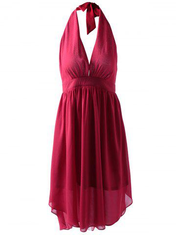 Online Fashionable Fitted Halterneck Open Back Dress For Women RED L