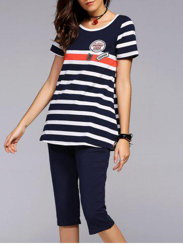 Fashion Stylish Scoop Neck Striped Tee and Capri Pants Set For Women