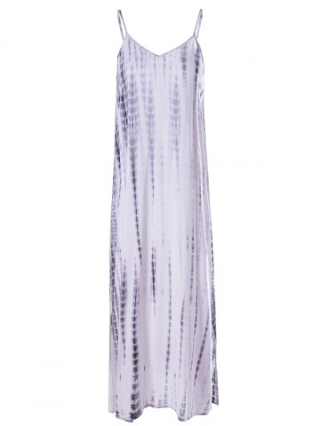 Unique Fashionable Low-Cut Spaghetti Strap Tie-Dye Dress For Woman - M WHITE AND BLACK Mobile