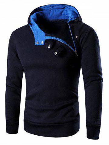 Hot Button and Zipper Design Long Sleeve Hoodie For Men CADETBLUE 3XL