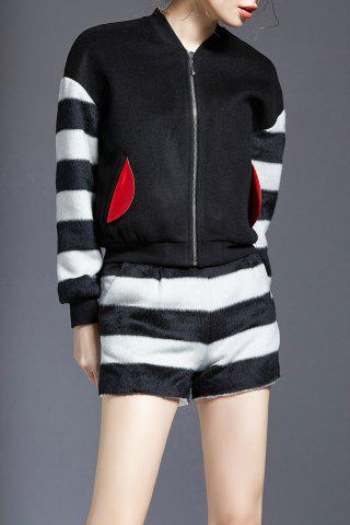 Hot Fuzzy Zip Striped Jacket and Shorts