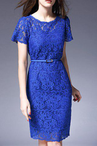Best Pure Color Lace Sheath Dress