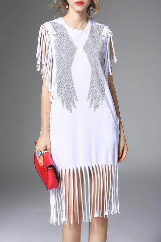 Fashion White Fringe Hot Fix Rhinestone Dress