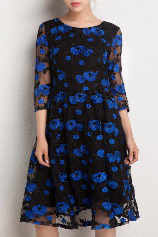 Fancy Floral Embroidered Gauzy Dress