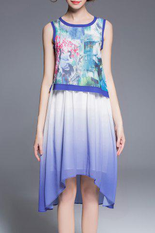 Buy Crane Print Asymmetric Dress
