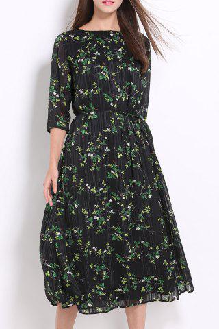 Cheap Ruched Midi Floral Dress