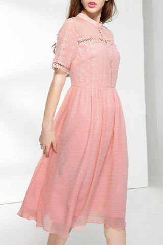 Chic Cut Out Solid Color Pleated Dress