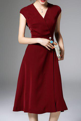 Affordable Pearls Belted Solid Color Dress