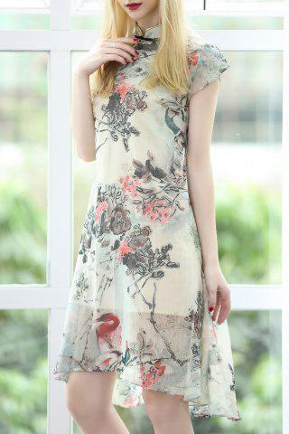 Fashion Stand Collar Floral Print Cheongsam Dress