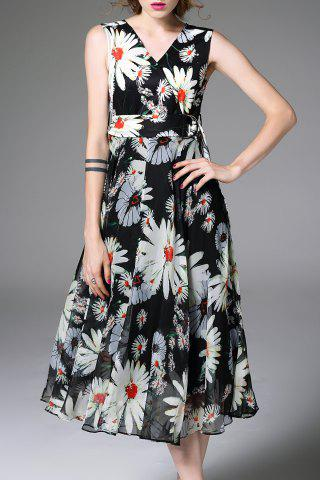Trendy V Neck Flower Print Waisted Corset Dress