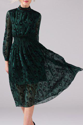 Trendy Mock Neck Peacock Graphic Long Sleeve Dress GREEN XL