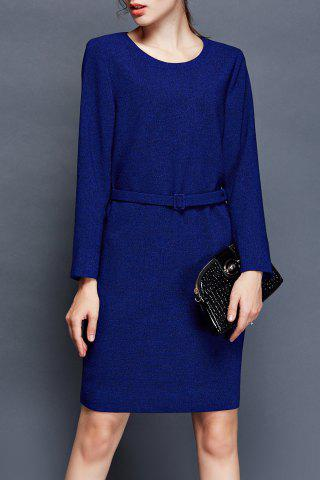 Best Belted Long Sleeve Bodycon OL Dress