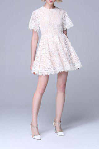 Sale High Waisted Flare Lace Dress