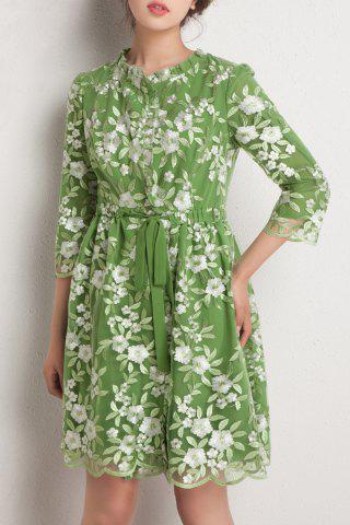 Shop Floral Embroidered A LineDress