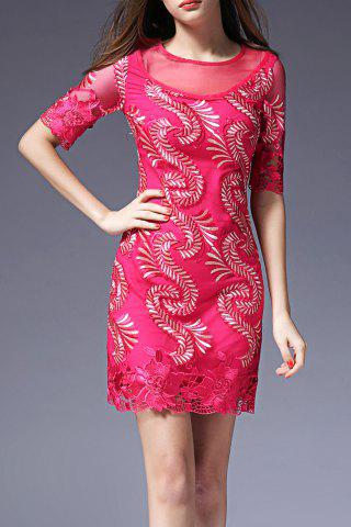 Discount Embroidered Mesh Splicing Dress