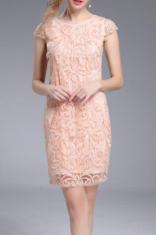 Trendy Embroidered Mini Sheath Dress