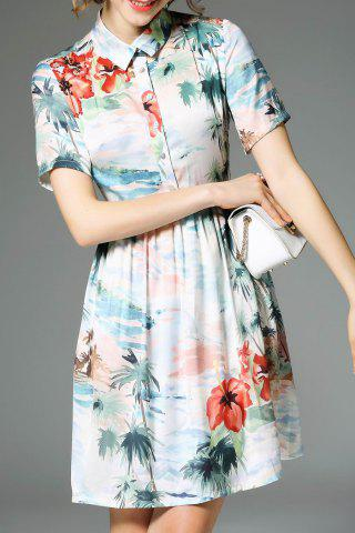 Chic Short Sleeve Printed Shirt Dress