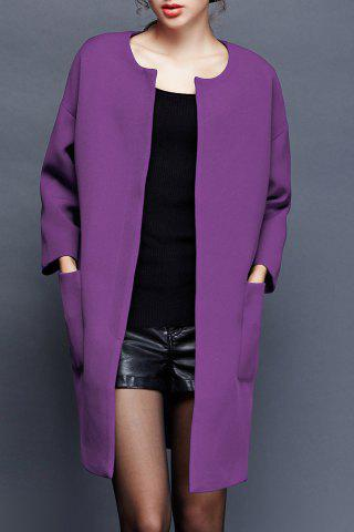 Outfit Collarless Long Coat with Pockets
