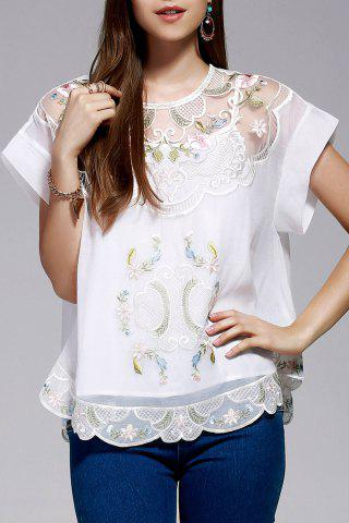 Online Cami Top and Retro Embroidery Blouse Twinset