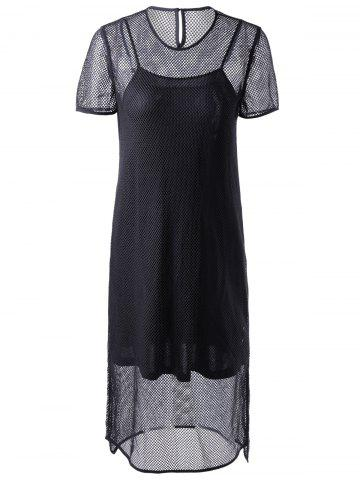 Online Fashionable Short Sleeves Round Collar Cut-Out Two-Piece Dress For Women BLACK XL