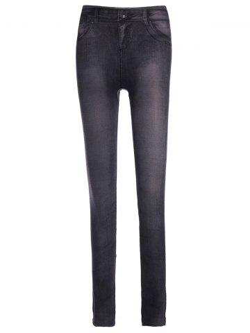 Fashionable Low-Waisted Chambray Women's Skinny Pants - GRAY ONE SIZE(FIT SIZE XS TO M)