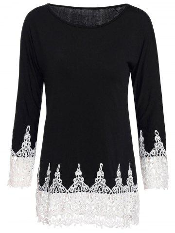 Latest Stylish Scoop Neck 3/4 Sleeve Lace Splicing T-Shirt For Women