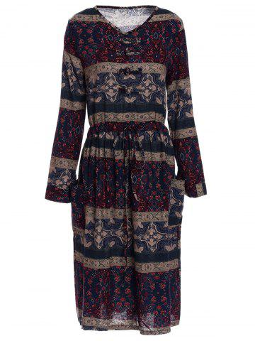 Outfits Long Sleeve Retro Print A Line Dress COLORMIX M