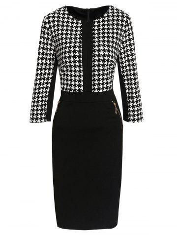 Buy Houndstooth Zippered Bodycon Dress WHITE AND BLACK XL
