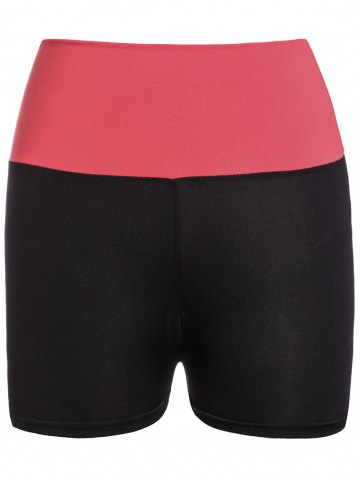 Discount Active Style Elastic Waist Skinny Color Block Women's Yoga Shorts