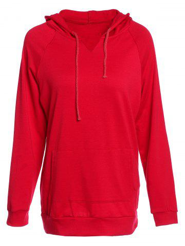 Store Trendy Hooded Long Sleeve Solid Color Pocket Design Women's Hoodie RED M