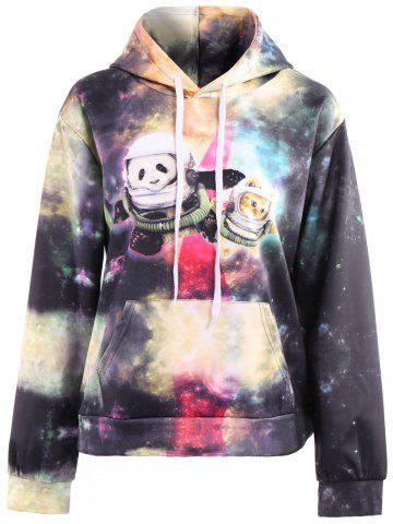 3D Colorful Funny Space Cat Print Front Pocket Drawstring Hooded Long Sleeves Men's Loose Fit Hoodie - COLORMIX - M