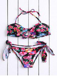 Casual Strapless Lace-Up Floral Print Women's Bikini Set
