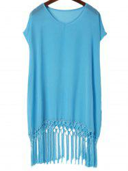 Fashionable V-Neck Solid Color Tassel Spliced Short Sleeve Cover-Up For Women