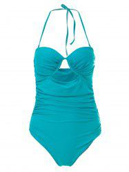 Charming Halter Sleeveless Hollow Out Solid Color Women's Swimwear