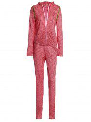 Stylish Hooded Long Sleeve Sequined Hoodie + Elastic Waist Pants Women's Twinset - PINK