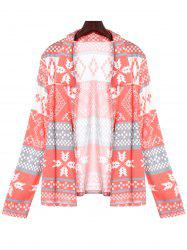Stylish Turn-Down Collar Long Sleeve Printed Pocket Design Women's Cardigan