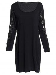 Sexy Scoop Neck Long Sleeve Hollow Out Plus Size Women's Dress -