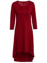 Casual Scoop Neck 3/4 Sleeve Solid Color Asymmetric Dress For Women -