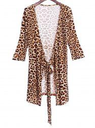 Sexy Plunging Neck 3/4 Sleeve Leopard Print Women's Club Dress -