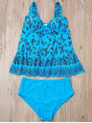Stylish Butterfly Print Plus Size Two-Piece Swimsuit For Women