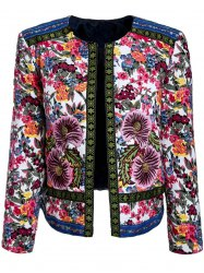 Retro Jewel Neck Long Sleeve Flower Embroidery Women's Padded Coat