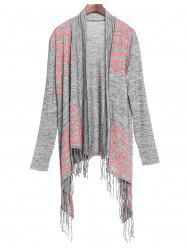 Stylish Collarless Long Sleeve Fringed Asymmetrical Women's Cardigan