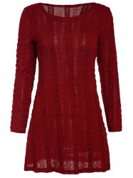 Scoop Neck A-Line Long Sleeve Dress - WINE RED
