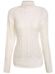 Elegant Solid Color Turtleneck Twist Wave Thick Pullover Sweater For Women -