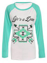 Casual Round Collar Long Sleeve Letter and Arrows Print Women's T-Shirt