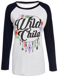 Casual Round Neck Letter Print Spliced Long Sleeve T-Shirt For Women -