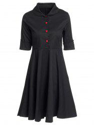 Vintage Turn-Down Collar Buttoned Short Sleeve Ball Dress For Women