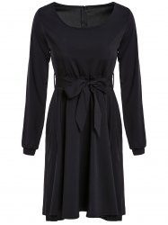 Graceful Scoop Neck Long Sleeve Black Self Tie Belt Women's Dress