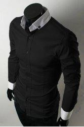 Fashion Shirt Collar Color Block Splicing Slimming Long Sleeve Polyester Button-Down Shirt For Men